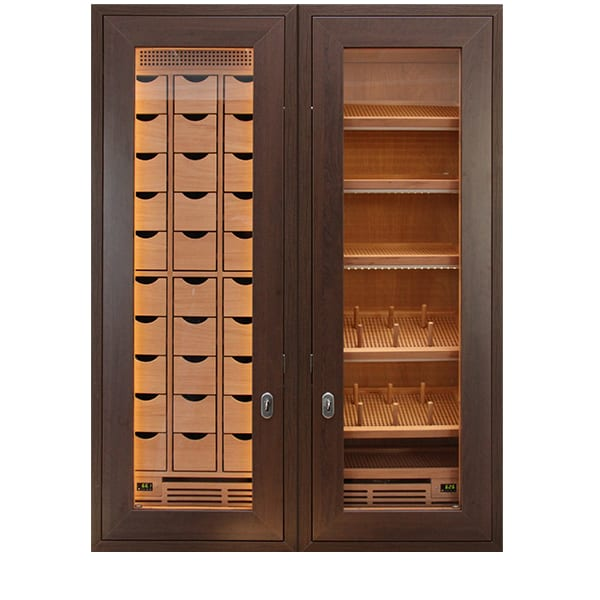GERBER built-in humidor with drawers & double-wing door