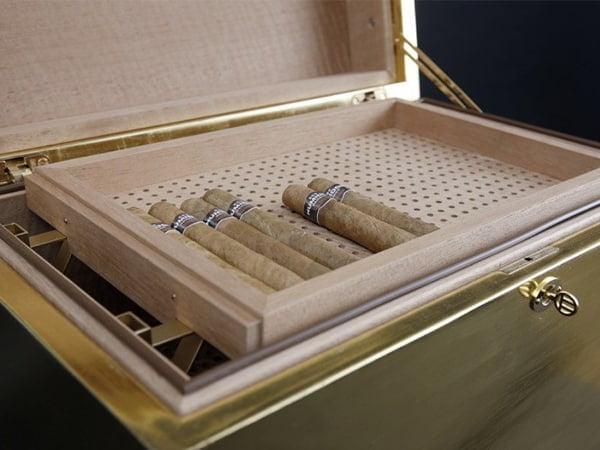 GERBER Humidor Cube Gold & spanish cedar