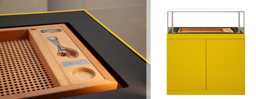 Gerber humidor in a shiny yellow color.